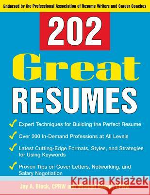 202 Great Resumes Jay A. Block Michael Betrus 9780071433167 McGraw-Hill Companies - książka
