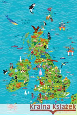 Children's Wall Map of the United Kingdom and Ireland  Collins Maps 9780008212087