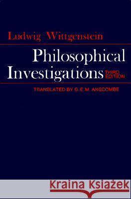 Philosophical Investigations Ludwig Wittgenstein G. E. M. Anscombe 9780024288103