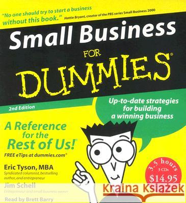 Small Business for Dummies - audiobook Eric Tyson Jim Schell Brett Barry 9780061175947