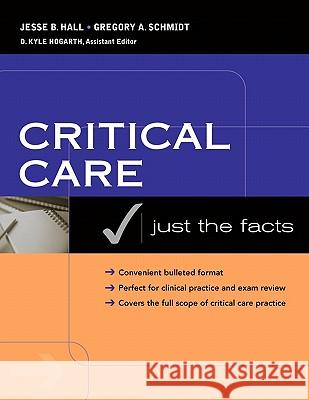 Critical Care: Just the Facts Hall                                     Jesse B. Hall Gregory A. Schmidt 9780071440202