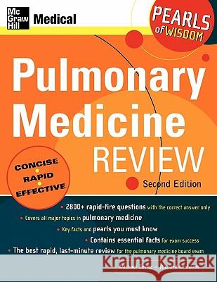 Pulmonary Medicine Review: Pearls of Wisdom Michael Zevitz Richard Lenhardt 9780071464512
