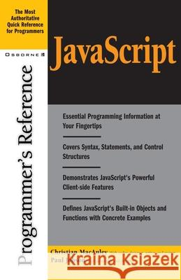 JavaScript Programmer's Reference Christian MacAuley Paul Jobson 9780072192964