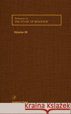 Advances in the Study of Behavior Slater                                   P. J. B. Slater Jay S. Rosenblatt 9780120045297