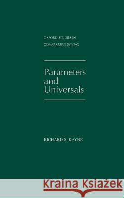 Parameters and Universals Richard S. Kayne 9780195102352