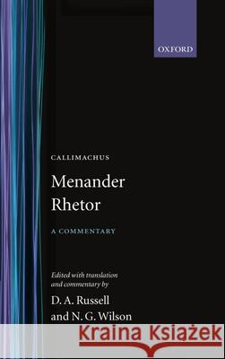 Rhetor Menander                                 Oxford University Press                  Donald A. Russell 9780198140139
