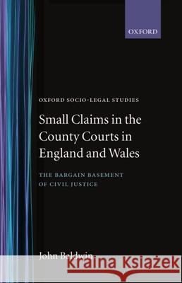 Small Claims in the County Courts in England and Wales John Baldwin 9780198264774