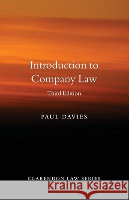 Introduction to Company Law Paul Davies (Senior research fellow, Sen   9780198854920