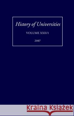 History of Universities, Volume XXII/1  9780199227488