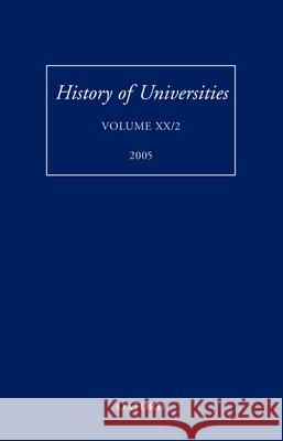 History of Universities: Volume XX/2 Mordechai Feingold 9780199289288