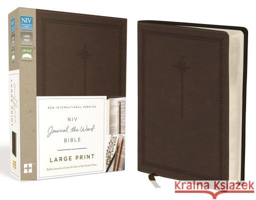 NIV, Journal the Word Bible, Large Print, Imitation Leather, Brown: Reflect, Journal, or Create Art Next to Your Favorite Verses  9780310445593