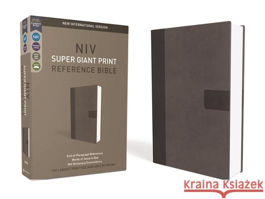 NIV, Super Giant Print Reference Bible, Giant Print, Imitation Leather, Gray, Red Letter Edition Zondervan 9780310445937