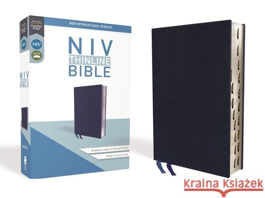 NIV, Thinline Bible, Bonded Leather, Navy, Indexed, Red Letter Edition Zondervan 9780310448839