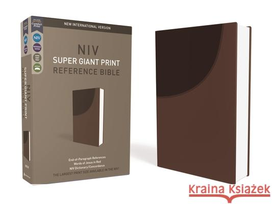 NIV, Super Giant Print Reference Bible, Imitation Leather, Brown, Red Letter Edition Zondervan 9780310449379