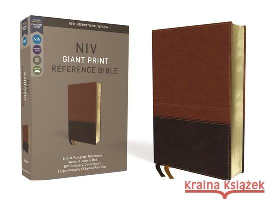NIV, Reference Bible, Giant Print, Imitation Leather, Brown, Red Letter Edition, Comfort Print Zondervan 9780310449508