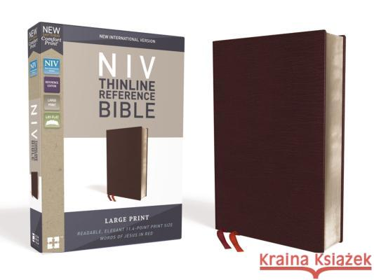 NIV, Thinline Reference Bible, Large Print, Bonded Leather, Burgundy, Red Letter Edition, Comfort Print Zondervan 9780310449560