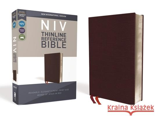 NIV, Thinline Reference Bible, Bonded Leather, Burgundy, Red Letter Edition, Comfort Print Zondervan 9780310449638