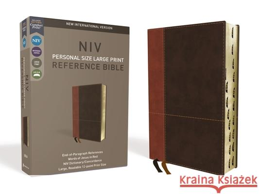 NIV, Personal Size Reference Bible, Large Print, Imitation Leather, Brown, Indexed, Red Letter Edition, Comfort Print Zondervan 9780310449737