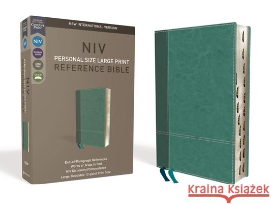 NIV, Personal Size Reference Bible, Large Print, Imitation Leather, Blue, Indexed, Red Letter Edition, Comfort Print Zondervan 9780310449751