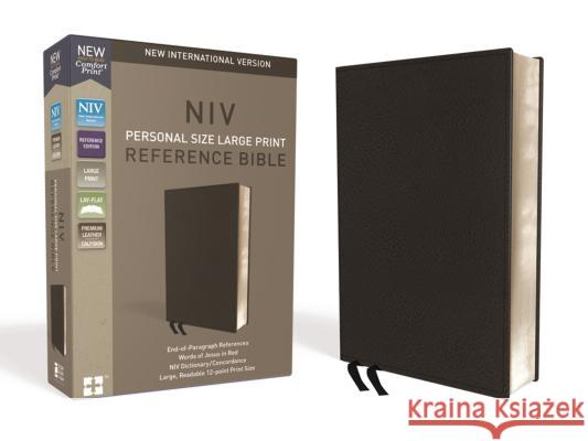 NIV, Personal Size Reference Bible, Large Print, Premium Leather, Black, Red Letter Edition, Comfort Print Zondervan 9780310449768
