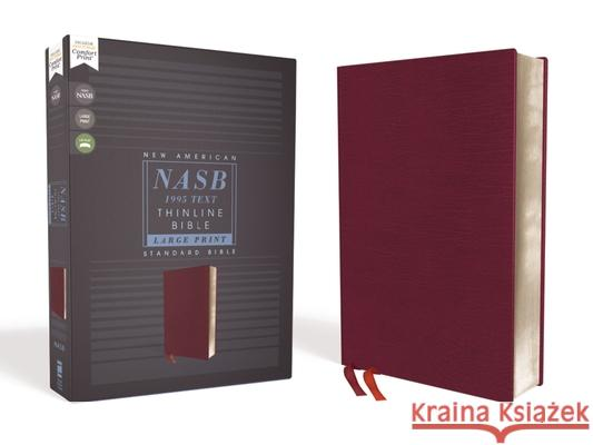Nasb, Thinline Bible, Large Print, Bonded Leather, Burgundy, Red Letter Edition, 1995 Text, Comfort Print  9780310451006