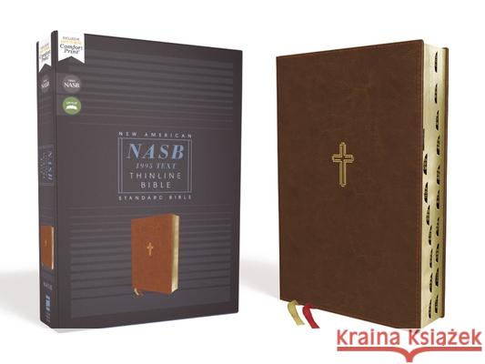 Nasb, Thinline Bible, Leathersoft, Brown, Red Letter Edition, 1995 Text, Thumb Indexed, Comfort Print  9780310456360