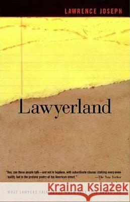 Lawyerland: An Unguarded, Street-Level Look at Law & Lawyers Today Lawrence Joseph 9780374529871