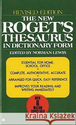 The New Roget's Thesaurus in Dictionary Form Norman Lewis 9780425099759