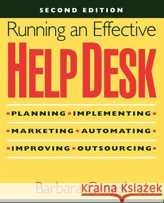 Running an Effective Help Desk Barbara Czegel Czegel                                   Czegel 9780471248163