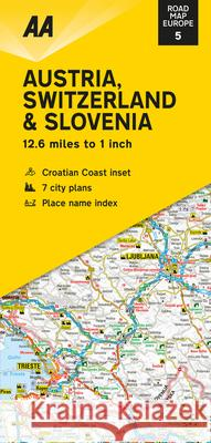 Road Map Austria, Switzerland & Slovenia AA Publishing 9780749582173