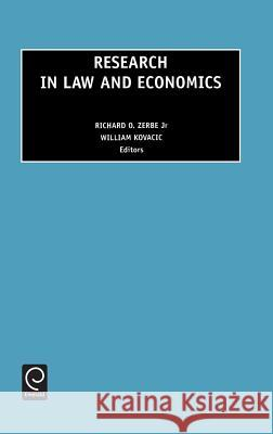 Research in Law and Economics Zerbe R R. O. Zerbe W. Kovacic 9780762303083 JAI Press