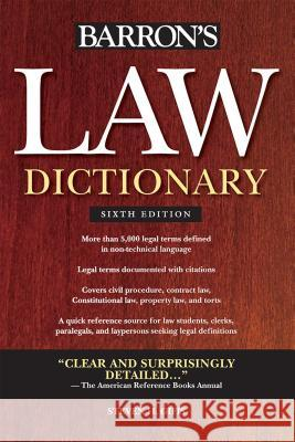 Barron's Law Dictionary Steven H. Gifis 9780764143588