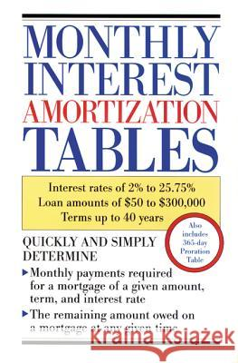 Monthly Interest Amortization Tables: Interest Rates of 2% to 25.75%, Loan Amounts of $50 to $300,000, Terms Up to 40 Years Contemporary Books 9780809235643