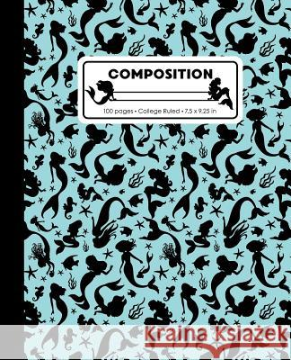 Composition: College Ruled Writing Notebook, Aqua Blue Mermaid Pattern Marbled Blank Lined Book Lilamae Press 9781070821221