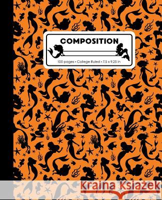 Composition: College Ruled Writing Notebook, Orange Mermaid Pattern Marbled Blank Lined Book Lilamae Press 9781070821481