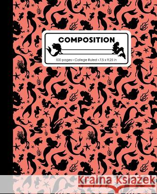 Composition: College Ruled Writing Notebook, Coral Pink Mermaid Pattern Marbled Blank Lined Book Lilamae Press 9781070821498