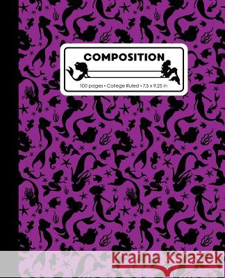 Composition: College Ruled Writing Notebook, Purple Mermaid Pattern Marbled Blank Lined Book Lilamae Press 9781070821528