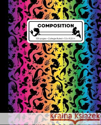 Composition: College Ruled Writing Notebook, Rainbow Mermaid Pattern Marbled Blank Lined Book Lilamae Press 9781070821566