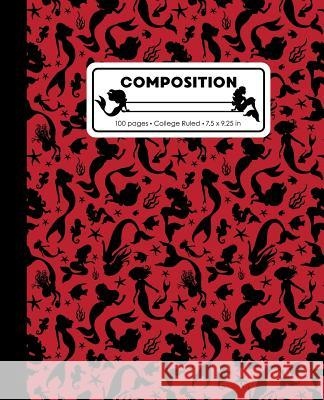 Composition: College Ruled Writing Notebook, Red Mermaid Pattern Marbled Blank Lined Book Lilamae Press 9781070821580