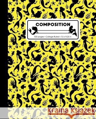 Composition: College Ruled Writing Notebook, Yellow Mermaid Pattern Marbled Blank Lined Book Lilamae Press 9781070821610