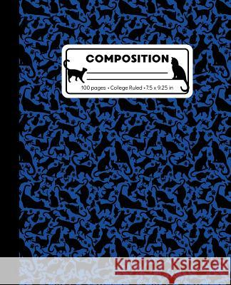 Composition: College Ruled Writing Notebook, Blue Cat Pattern Marbled Blank Lined Book Lilamae Press 9781073358755