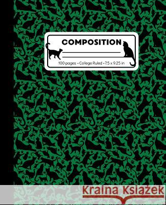 Composition: College Ruled Writing Notebook, Green Cat Pattern Marbled Blank Lined Book Lilamae Press 9781073358762