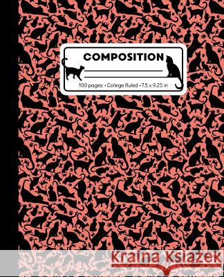Composition: College Ruled Writing Notebook, Coral Pink Cat Pattern Marbled Blank Lined Book Lilamae Press 9781073358793
