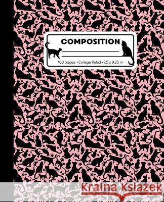 Composition: College Ruled Writing Notebook, Rose Pink Cat Pattern Marbled Blank Lined Book Lilamae Press 9781073358816
