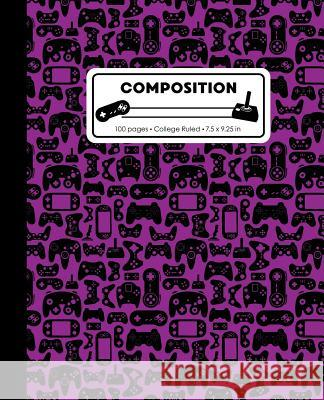 Composition: College Ruled Writing Notebook, Purple Video Game Controller Pattern Marbled Blank Lined Book Lilamae Press 9781075652899