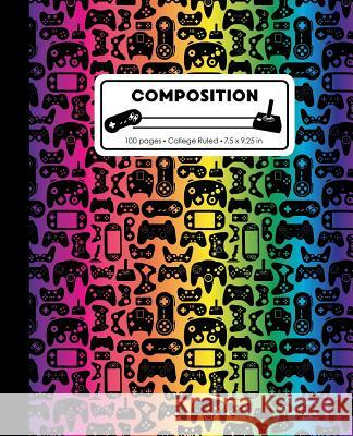 Composition: College Ruled Writing Notebook, Rainbow Video Game Controller Pattern Marbled Blank Lined Book Lilamae Press 9781075652905