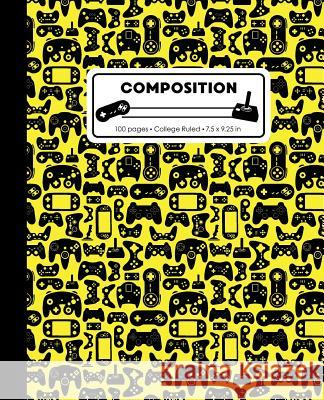 Composition: College Ruled Writing Notebook, Yellow Video Game Controller Pattern Marbled Blank Lined Book Lilamae Press 9781075652936