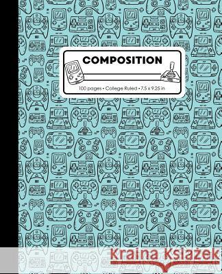 Composition: College Ruled Writing Notebook, Teal Blue Video Game Controller Outline Pattern Marbled Blank Lined Book Lilamae Press 9781075652943