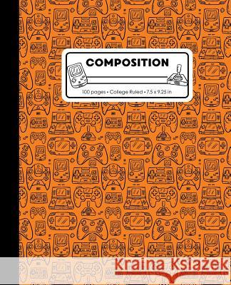 Composition: College Ruled Writing Notebook, Orange Video Game Controller Outline Pattern Marbled Blank Lined Book Lilamae Press 9781075652974