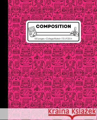 Composition: College Ruled Writing Notebook, Hot Pink Video Game Controller Outline Pattern Marbled Blank Lined Book Lilamae Press 9781075652981